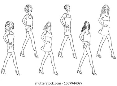 Sketches of slender young women striding on catwalk