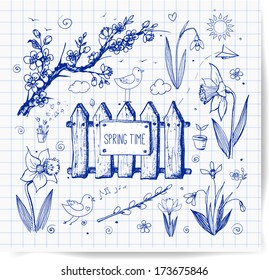 Sketches of spring objects:  daffodils, crocus, pussy willow, snowdrops, birds. Vector illustration.