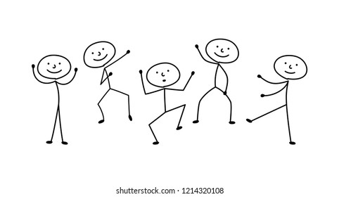 sketches stick figure people, isolated silhouettes, man dancing, drawing joke
