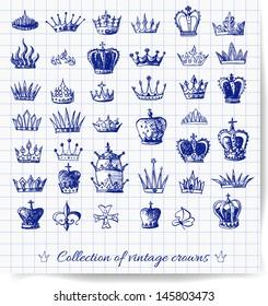 Sketches of vintage crowns on squared paper. Vector illustration.