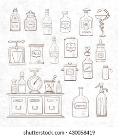 Sketches of vintage drugstore objects on vintage rice paper background. Pharmacy bottles, mortar and pestle, old apothecary cabinet, scales etc.