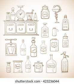 Sketches of vintage drugstore objects in vintage style. Pharmacy bottles, mortar and pestle, old apothecary cabinet, scales etc.
