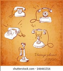 Sketches of vintage phones. Vector illustration.