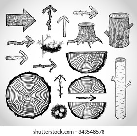 Sketches of wood cuts, logs, stump and wooden arrows isolated on white background