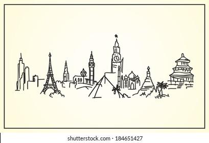 Sketch,Hand-drawing panorama the world's landmarks