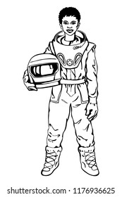 Sketching african woman astronaut. Hand drawn portrait of young, strong lady scientist. Outline illustration of feminism and freedom