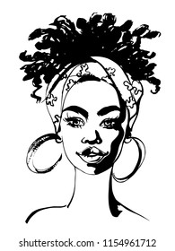 Sketching beauty african young woman. Hand drawn fashion illustration. Portrait of pretty girl on white background