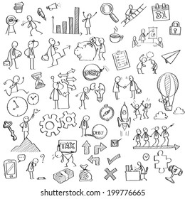 Sketching and drawing of businessman character in various concept of business, finance, feeling, emotion, working, vision and strategy, money, or with many office object.