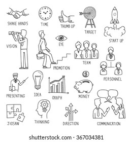 Sketching of hand writing in business concept, doodle, drawing, vector illustration.