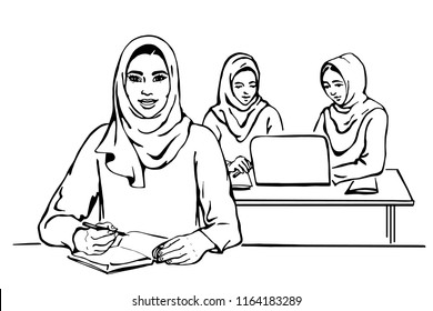 Sketching portrait of arabian lady boss. Happy smiling business women working at office. Hand drawn illustration of diversity, freedom and feminism