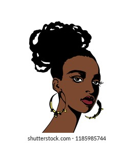 Sketching portrait of young woman. Hand drawn beauty african lady with hairstyle. Fashion glamour illustration