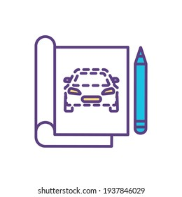 Sketching RGB color icon. Making rough draft. Preparatory drawing and painting. Painter skills improvement. Rapidly executed freehand idea on paper. Creative process. Isolated vector illustration