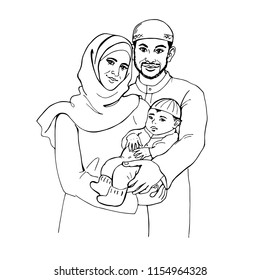 Sketching traditional muslim family. Hand drawn illustration with happy smiling people. Portrait of arabian woman, man and baby on white background