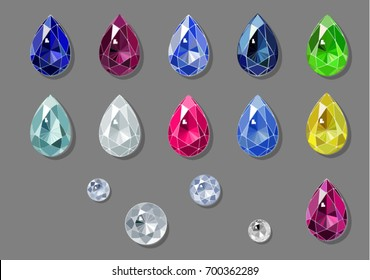 Sketch-like drawing of pear and round brilliant cut diamonds and colorful gems. Vector illustration
