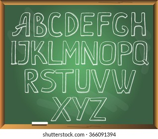 Sketchy alphabet on chalkboard background. Free hand drawn. Vector illustration.