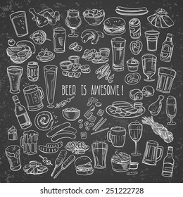 sketchy beer and snacks, vector hand-drawn illustration