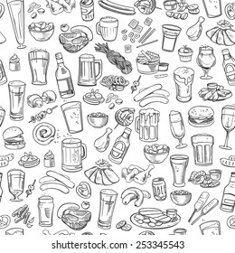 sketchy beer and snacks, vector seamless background