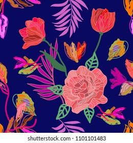 Sketchy botanical print with tulips and roses. Seamless floral pattern with digital art elements. Palm leaves and exotic flowers.  Colorful on blue background.