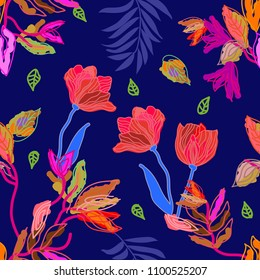 Sketchy botanical print with tulips. Seamless floral pattern with digital art elements. Palm leaves and exotic flowers.  Colorful on blue background.