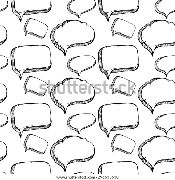 Sketchy Bubble Speech Outline Seamless Pattern