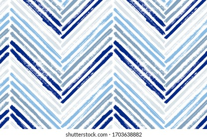 Sketchy chevron interior print vector seamless pattern. Ink brushstrokes geometric stripes. Hand drawn paint texture zig zag chevron ornament. Watercolor textile print seamless design.