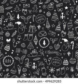 Sketchy Christmas seamless pattern. Chalk drawing