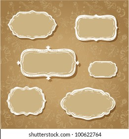Sketchy classic cloud shaped frames on seamless fanciful floral background (vector).