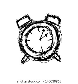 sketchy clock in doodle style