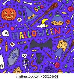 Sketchy colorful fun vector hand drawn doodle cartoon pattern on the Halloween theme. Halloween doodle patch badges, stickers.