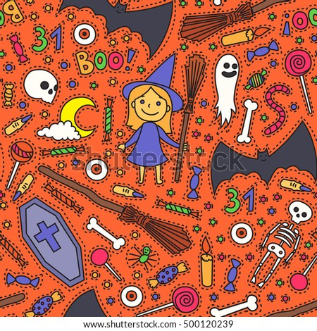 Sketchy Colorful Fun Vector Hand Drawn Doodle Cartoon Pattern On The Halloween Theme Halloween Doodle