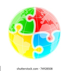 Sketchy colorful globe under puzzle pattern