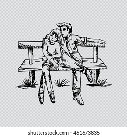 Sketchy of Couple in love sitting on the bench.