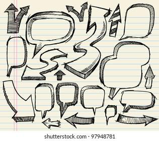 Sketchy doodle Arrows and Speech bubble Vector Illustration Set