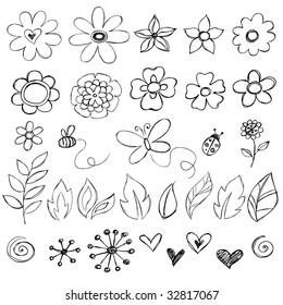 Sketchy Doodle Flowers Vector Illustration