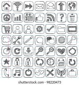 Sketchy Doodle Web / Computer Icon Set - Back to School Style Notebook Doodles Vector Illustration Design Elements on LIned Sketchbook Paper
