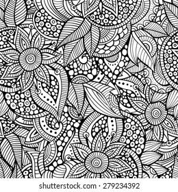 Sketchy doodles decorative floral outline ornamental seamless pattern