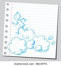 Sketchy drawing of a man running over clouds