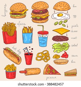 Sketchy fast food illustrations. Vector american food art.