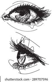 Sketchy female eyesSketchy, hand drawn female eyes on grid paper. The artwork and paper are on separate labeled layers.