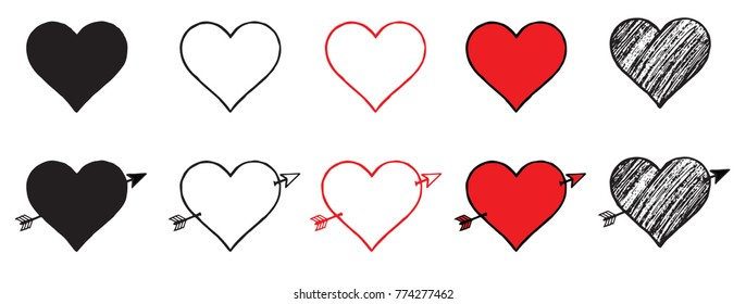 Sketchy Heart Vector Icons