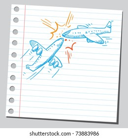 Sketchy illustration of a airplane crush