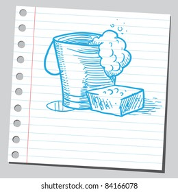 Sketchy illustration of a bucket and sponge