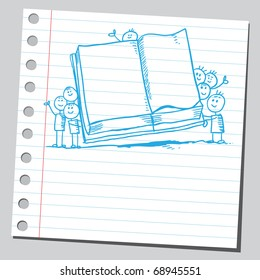 Sketchy illustration of a children holding an open book