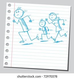 Sketchy illustration of a family running