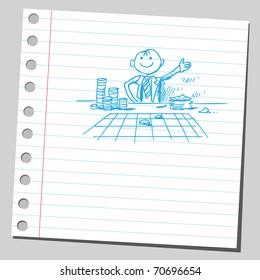 Sketchy illustration of a gambler