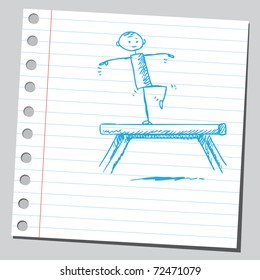 Sketchy illustration of a gymnast on a balance beam