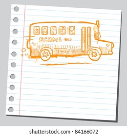 Sketchy illustration of a kids in school bus