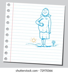 Sketchy illustration of a pregnant woman