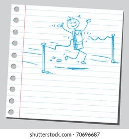 Sketchy illustration of a race winner