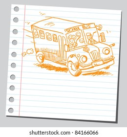 Sketchy illustration of a school bus